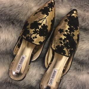 Gold and Black Embroidered Flat Mules